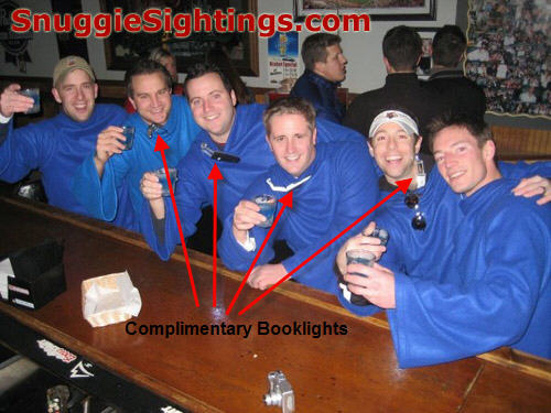 The Complimentary Booklights provide Illumination for the Snuggie Pub Crawl
