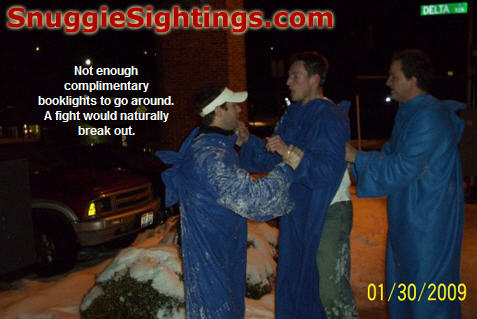 A bout of Complimentary Booklight Brawl broke out in the parking lot. Both participants were protected by their Snuggies and the match ended in a draw...of course. Peace descended upon the streets of Cincinnati and all was well in most of Ohio that night...nudging Cleveland.