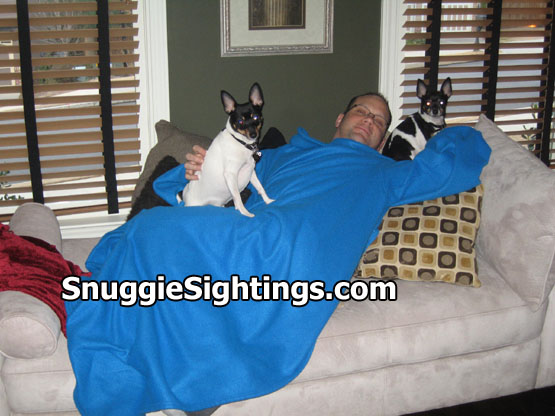 Jeff, and his Snuggie loving pooches - Bishop and Bryon.