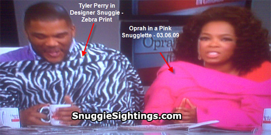 Tyler Perry in the Designer Zebra Snuggie and Oprah in the Pink Snugglette - Oprah Winfrey Show - Friday, March 6, 2009.