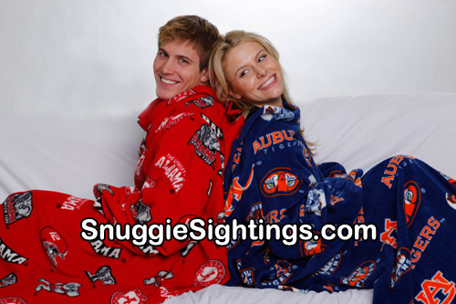 College Sport Snuggies ... Yes!! Even Auburn and Alabama can cozy up together, thanks to the Snuggie.