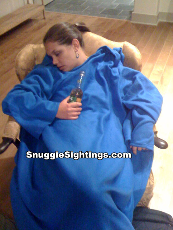 Lisa sleeps like a baby, thanks to her Snuggie. The alcohol consumption had nothing to do with it.