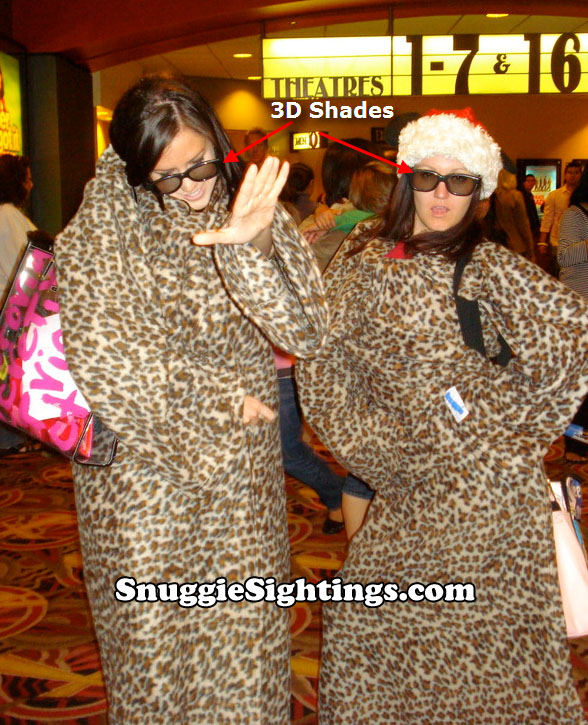 3D Glasses for opening weekend of Christmas Carol. The glasses make the Leopard Snuggie spots really pop.
