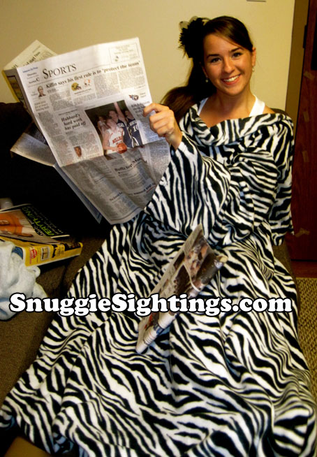 Wars...famines...losing streaks for my favorite team...nothing can get me down because I'm wearing my Zebra Snuggie.